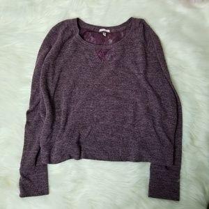 Victoria Secret cropped knit lace top sweater L-C3